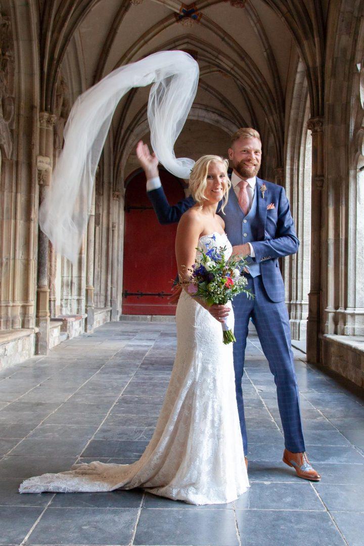 huwelijksfoto, bruidsfoto, fotoshoot, bruid en bruidegom, Utrecht dom