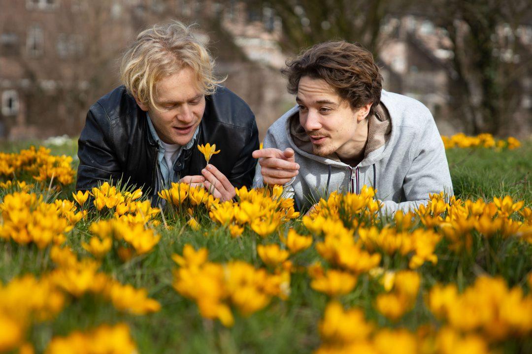 Corona straatfotografie - lente - twee jongens in de krokussen, portretfotograaf in Houten